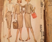 1960's Day Suit Jacket, Skirt and Blouse Vintage McCall's 5518 Pattern - Junior Size 12