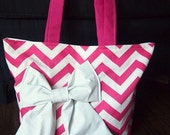 Handmade Pink and white Chevron tote bag with faux leather bow and straps