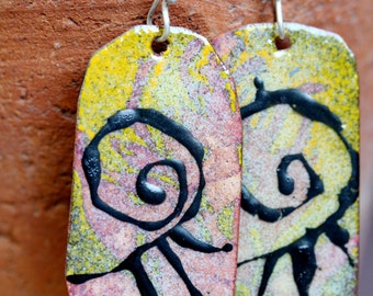 Enameled Earrings - OOAK - Hand painted design