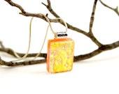 Golden Pendant- Yellow Dichroic Pendant- Fused Glass Pendant- Fused Glass Necklace-Dichroic Jewelry- Dichroic Glass Jewelry