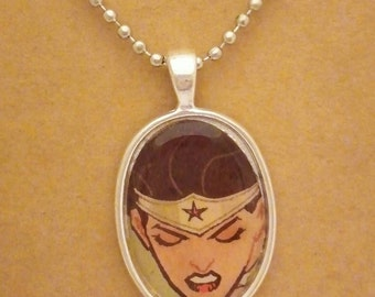 Wonder Woman recycled comic book pendant