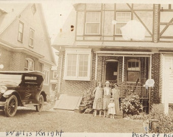 vintage photo first car Family back of House w Wyllis Knight Auto