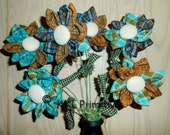 Brown And Blue Homespun Fabric Flowers In Candlestick Vase