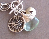 Bridesmaids Bracelets - Pick Your Stone, Personalized Jewelry, Ocean Theme, Sand Dollar Charm - 3011