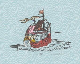 Sailing Ship XXVIII - Block Print with Mixed Papers - Lino Block Print Historic Sailing Ship on Collaged Japanese Papers & Ephemera
