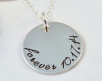 Adoption Necklace, Forever Family, Sterling Silver Gotcha Day Necklace, Hand Stamped Sterling Silver
