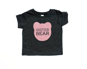 Sister Bear Infant TriBlend Heather Black TShirt with Pink Print - Little Sister, Big Sister, Family Photos, Announcement, Expecting