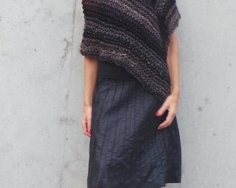 brown and black loose knit poncho hand knit