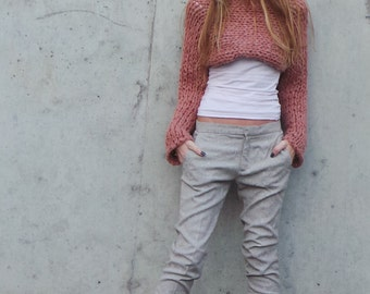 Pink cropped top, pink cropped sweater