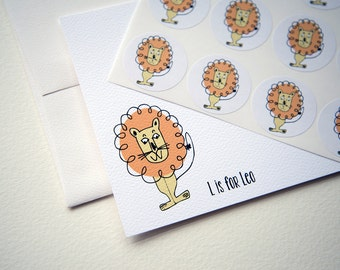 L is for Leo the Lion Personalized Stationery or Thank You Notes and Sticker Set