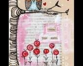Owl Illustration. pen and ink drawing, vintage page, Children's Nursery Art, Love, Valentine