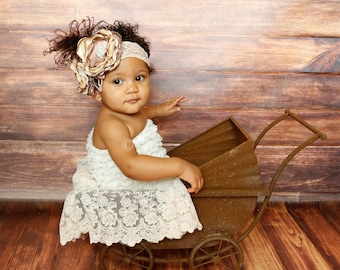 Caramel Coffee  - Vintage Inspired Headband, Brown and Ivory Headband, Girls Headband, Suitable for All Ages