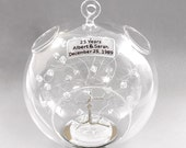 25th Anniversary Gift Personalized Ornament Silver with Clear Swarovski Crystal Elements