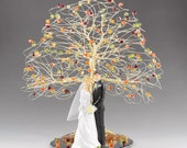 Swarovski Crystal Elements Fall Tree Cake Topper with Wedding Figurine Classic or Modern Figurine