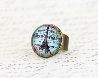 Gift For Women - Statement Ring Eiffel Tower - Shabby Chic Ring - Romantic Ring - Paris Jewelry -  City of Paris - Gift For Woman