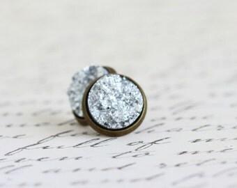 Faux Druzy Post Earrings - Brass Post Earrings - Silver Sparkle Stud Earrings - Glitter Earrings - Bright Silver - Gift For Woman