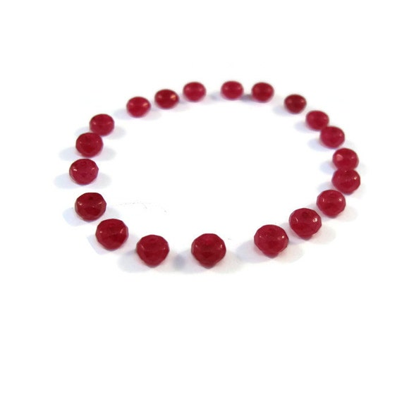 Ruby Jade Rondelles, Set of 20 Dyed Jade Beads, Twenty Small Gemstone Beads, Jewelry Supplies, Faceted 4mm (R-Ja2)