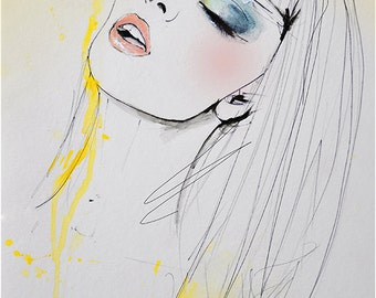 Marianne - Fashion Illustration Art Print, Portrait, Woman, Mix Media Painting by Leigh Viner