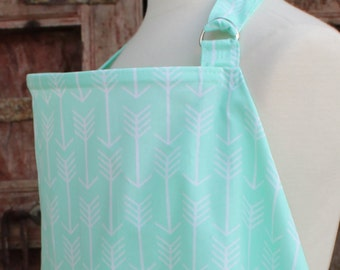Beautiful Nursing Cover-White Arrows On Mint-Free Shipping When Purchased With A Wrap