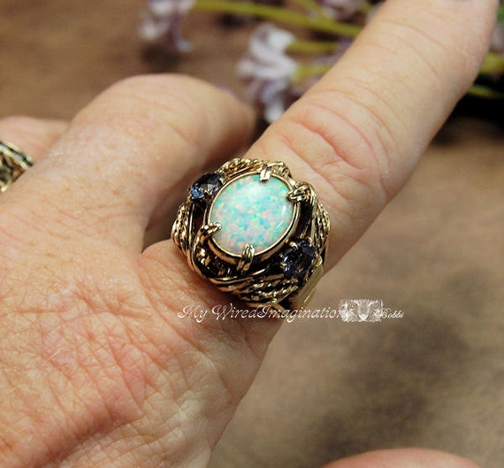 One of a Kind Opal Alexandrite Hand Crafted Wire Wrapped Statement Ring October June Birthstones Fine Jewelry