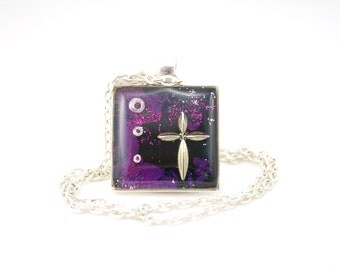 Confirmation Necklace, Christian Jewelry, Purple Cross Necklace, Catholic Gifts, Jesus Jewelry, Magic Glos Jewellery