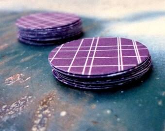 Purple Crosshatch Paper Stickers, Package of 20 Round Sticker Seals, Adhesive Decor, Modern Look, Envelope Seals