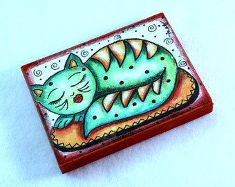 Green Cat Art Wood Block, Kitty Art Magnet or Drilled Hole, Whimsical Art, ACEO ATC 2.5 x 3.5, Mixed Media, Artist Trading Card, Green Tan