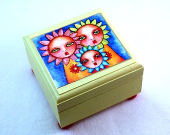 Sunflower Jewelry Box, Small Wood Box, Flower Faces Art, Whimsical Friendship, Wooden Ring Earring Holder, Blue Green Orange