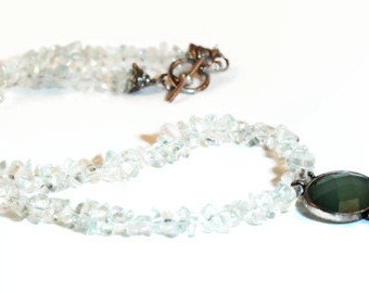 Ice Green Necklace with Green Glass Vintage Pendant   Ice Queen