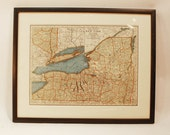 """Vintage map New York State NY framed 16 1/2 wide"""" x 13 3/8 high """" Rand McNally  book page Lake Ontario Lake Erie Finger Lakes Long Island"""