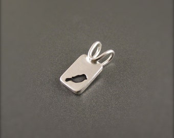 Tiny Bird Silhouette Sterling Silver Pendant