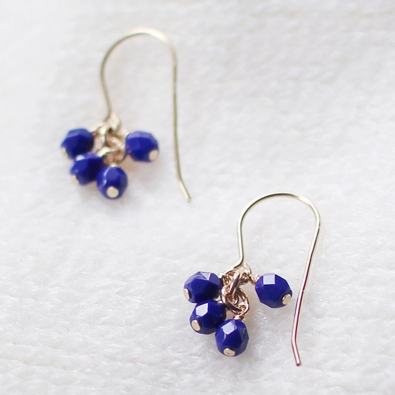 lucky in blue - faceted gold and blue earrings by elephantine