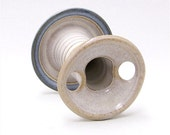 Toothbrush Holder for Two Brushes in soft white and blue (handmade stoneware)