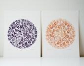 Set of 2 Pom Pom Art Prints in Purple & Orange