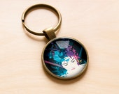 Inner Spaces keychain -  Surreal, Portrait, Geometric, key ring