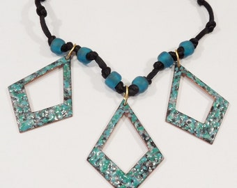 Copper Enamel Necklace / turquoise blue black / glass beads