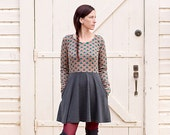 Women's Long Sleeve Skater Dress.Triangle print.Casual Dress.Fit and Flare dress.Dresses.Circle Skirt