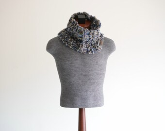 Mens Scarf Knit Scarf Mens Knitted Scarf Brown and Blue Scarf Mens Brown Scarf Accessories for Men