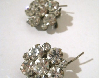 Vintage Rhinestone Wire Wraparound Earrings