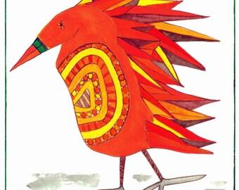 Bird Art, Bird Whimsy, Bead-Bellied Block Feather Bird, Bessie-Bead Bellied Block Feather, Print