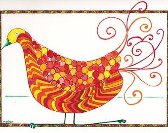 Bird Art, Whimsy Bird, Whimsical Bird, Opera Bird, Bird Opera Sophie, Sophie The Opera Bird Original art, unframed