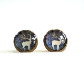Stag Earrings, Deer Jewelry, Woodland Jewelry, Brass Stud Earrings, Animal Jewelry, Slate Blue and Silver, Paper Jewelry, Post Earrings