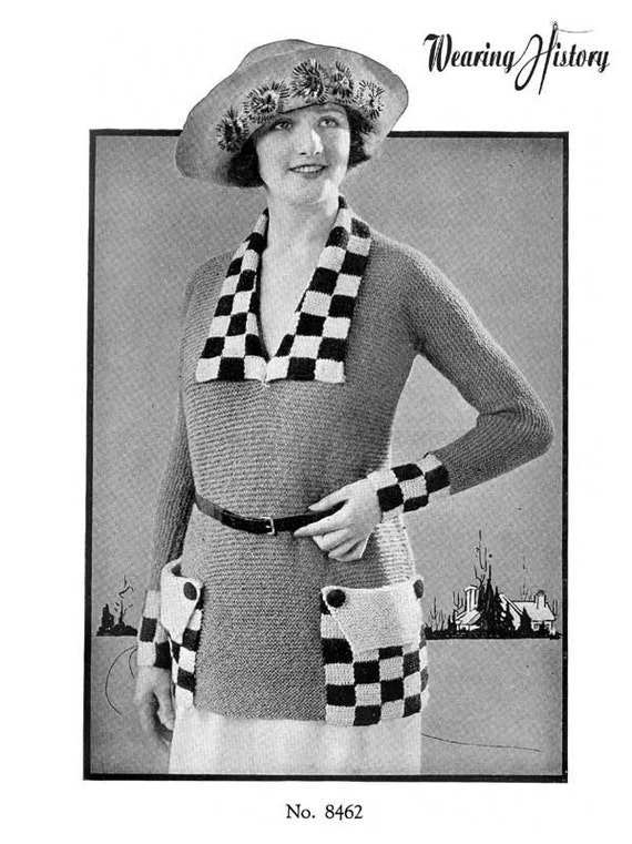 Ladies' Colorful 1920s Sweaters and Cardigans History 1920s Checkerboard Sweater Knitting E-Pattern- PDF Knitting Pattern Download $2.99 AT vintagedancer.com