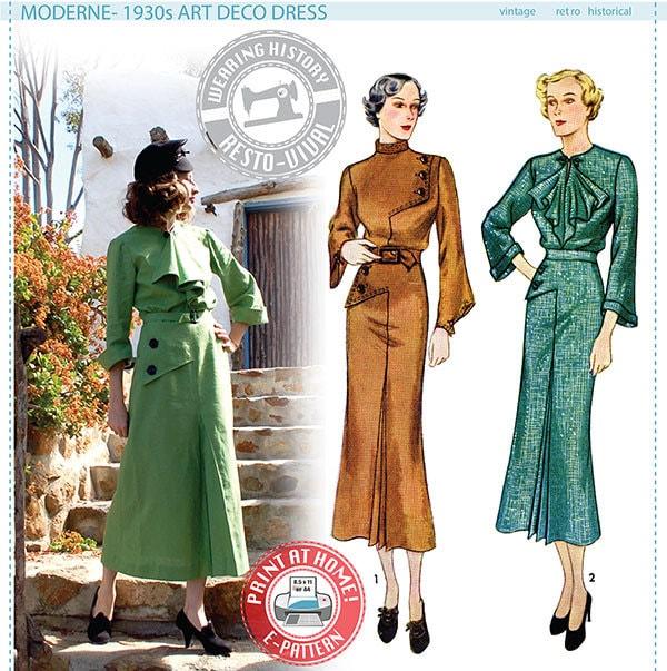 E-Pattern Moderne 1930s Art Deco Dress Pattern Wearing