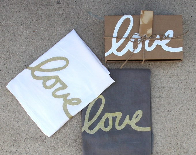 Love Dish Towel Set of 2 with Gift Box