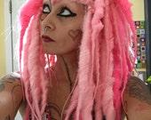 Paris Vampire Dread Wig, big Pink dread locks, dreadlocks, Halloween Costume, Gothic Wig, Cosplay Hair, Tribal Belly Dance, Steampunk