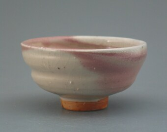 Teacup, wood-fired stoneware w/ blushing shino and natural ash glazes