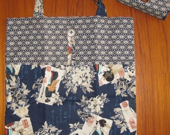 Tuck and Roll Fold-Up Portable Shopping Tote Japanese Geisha Design Navy