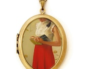 Art Locket - A Mystery Lady - Oil Painting Reproduction Art Locket Necklace