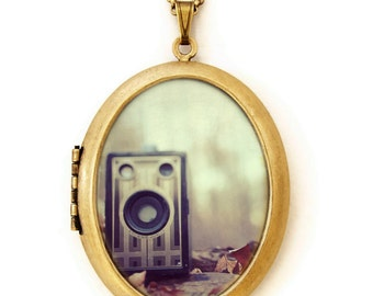 Old Memories - Photo Locket - Vintage Brownie Junior Camera Photo Locket Necklace